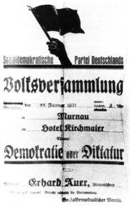 Ankündigung des Vortrags von Erhard Auer im Gasthof Kirchmeir in Murnau (Foto: Staatsarchiv München)